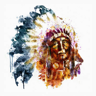 Digitally Mixed Media - Native American Chief by Marian Voicu