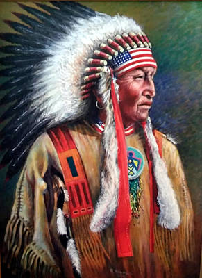 Painting - Native American Chief by Pedro Huamani