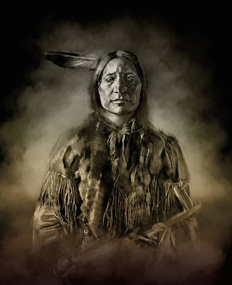 Portraits Digital Art - Native American Chief-scabby Bull 2 by Bekim Art