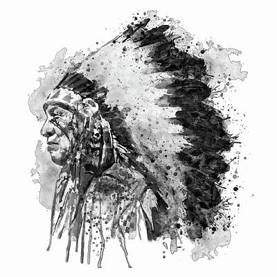Native American Chief Side Face Black And White Art Print