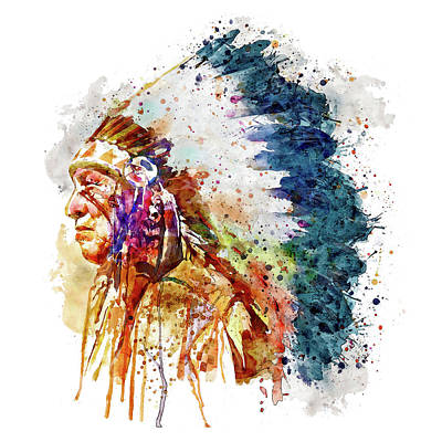 Watercolour Mixed Media - Native American Chief Side Face by Marian Voicu