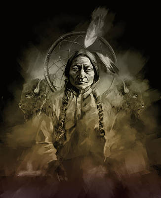 Painting - Native American Chief-sitting Bull 2 by Bekim Art