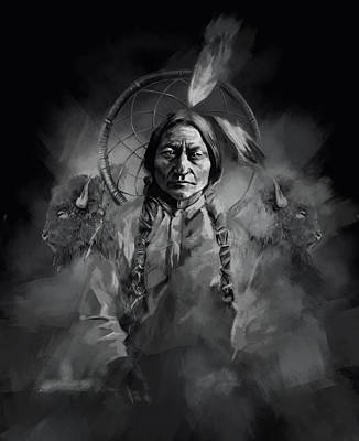 Painting - Native American Chief-sitting Bull 3 by Bekim Art