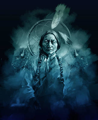 Painting - Native American Chief-sitting Bull by Bekim Art