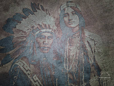 Digital Art - Native American Couple - Situwuka And Katkwachsnea by Absinthe Art By Michelle LeAnn Scott