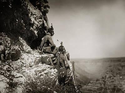 Native American Crow Men On Rock Ledge Art Print by Jennifer Rondinelli Reilly - Fine Art Photography