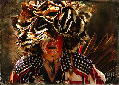 Cheyenne Headdress Photograph - Native American Dog Soldier by Olivia Hardwicke
