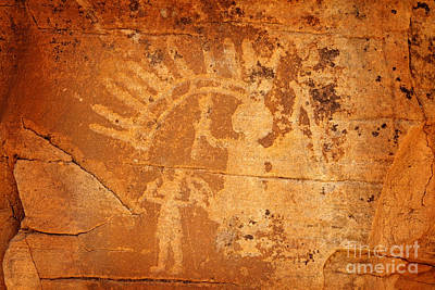 Photograph - Native American Father And Son Warriors Petroglyph On Orange Sandstone by John Stephens