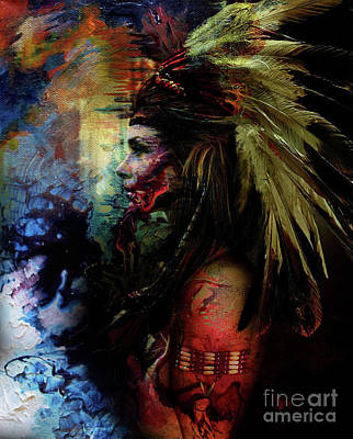 Indian Tribal Art Painting - Native American Feather by Gull G