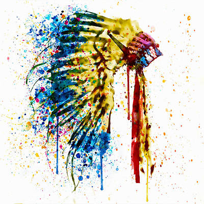 Indian Mixed Media - Native American Feather Headdress   by Marian Voicu