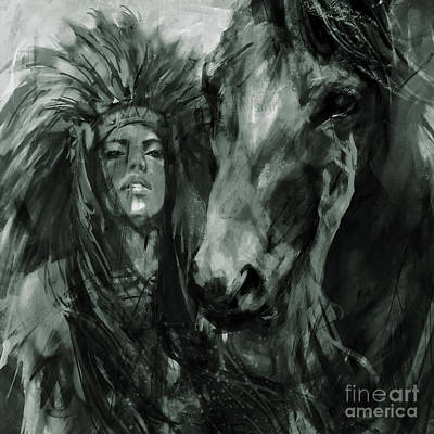 Pow Wow Painting - Native American Female With Horse  by Gull G