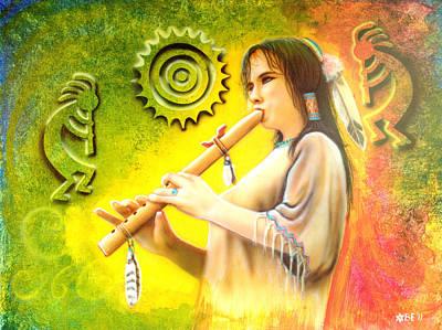 Native American Flute Player Original by Amatzia Baruchi