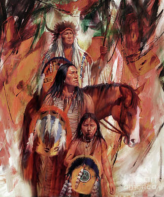 Pow Wow Painting - Native American Ght6 by Gull G
