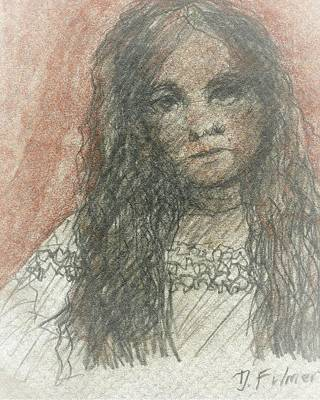 Mixed Media - Native American Girl by Denise Fulmer