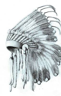 Handcrafted Drawing - Native American Headdress by Jennifer Schimmrich