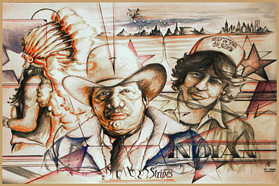 Drawing - Native American History Collage by Art America Gallery Peter Potter