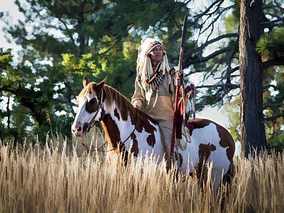 Digital Art - Native American In Full Headdress On A Paint Horse by Nadja Rider
