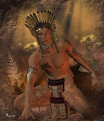 Digital Art - Native American Indian by Ali Oppy