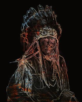 Digital Art - Native American Indian Chief by Carlos Diaz