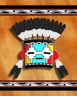 Native American Indian Kachina Mask Art Print by John Wills