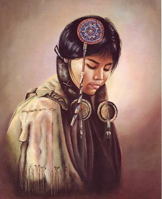 Western Painting - Native American Indian Madian by Peter Nowell
