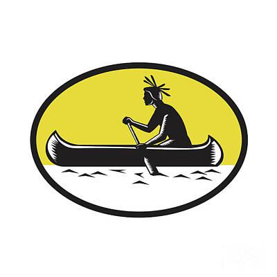 Native American Indian Paddling Canoe Woodcut Art Print