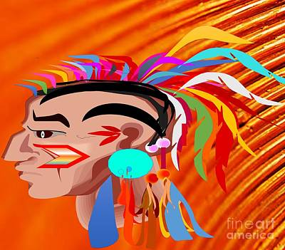Painting - Native American Indian Warrior Head-dress by Belinda Threeths