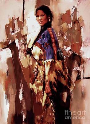 Elaborate Painting - Native American Lady 03  by Gull G