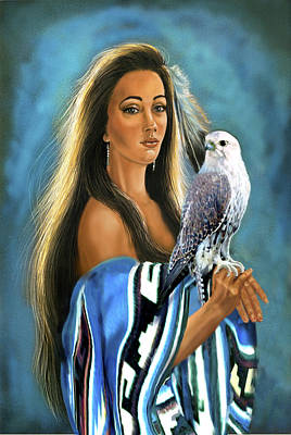 Native American Maiden With Falcon Art Print by Regina Femrite