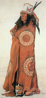 Native American Style Photograph - Native American Man In Painted Robe by Photo Researchers
