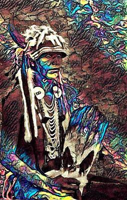 Mixed Media - Plains Indian Warrior With Buffalo Headdress In The Trees by Ayasha Loya