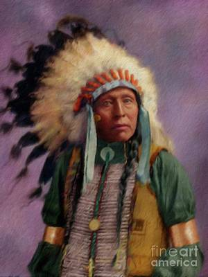 Landmarks Painting Royalty Free Images - Native American Royalty-Free Image by Esoterica Art Agency
