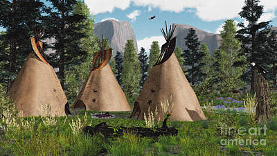 Photograph - Native American Mountain Tepees by Walter Colvin