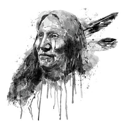 Native American Portrait Black And White Art Print by Marian Voicu