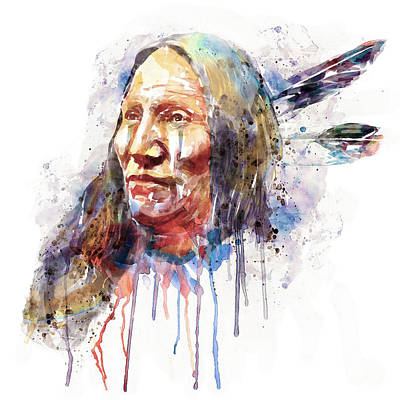 Indian Art Mixed Media - Native American Portrait by Marian Voicu