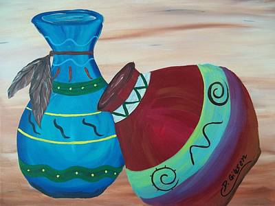 Painting - Native American Pottery by Dianne Scheerer Gibson
