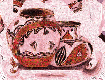 Water Jug Digital Art - Native American Pottery Mosaic by Paula Ayers