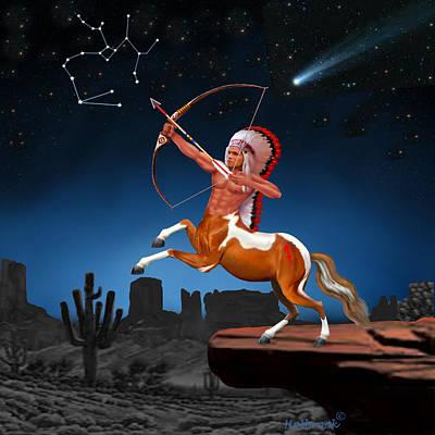 Desert Sunset Digital Art - Native American Sagittarius by Glenn Holbrook