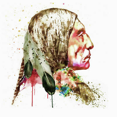 Indian Art Mixed Media - Native American Side Face by Marian Voicu