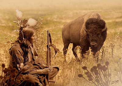 Digital Art - Native American Sioux And Bison by IM Spadecaller