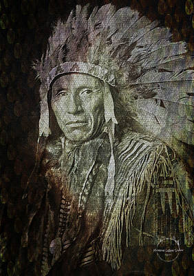 Digital Art - Native American - Sioux Chief Eagle Dog by Absinthe Art By Michelle LeAnn Scott