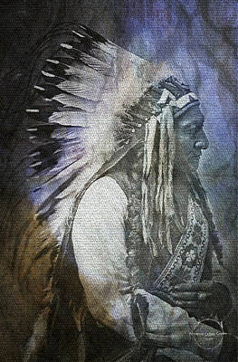 Digital Art - Native American - Sioux Chief Sitting Bull by Absinthe Art By Michelle LeAnn Scott