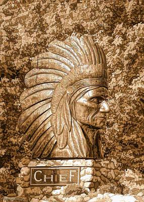 Golf Photograph - Native American Statue Copper  by LeeAnn McLaneGoetz McLaneGoetzStudioLLCcom