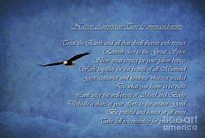 Mixed Media - Native American Ten Commandments by Debby Pueschel