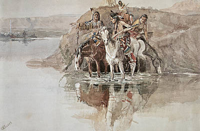 Old West Drawing - Native American War Party by Charles Marion Russell