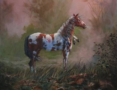 Indian Pony Painting - Native American War Pony by Tom Shropshire