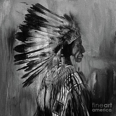 Indian Tribal Art Painting - Native American  Warrior by Gull G