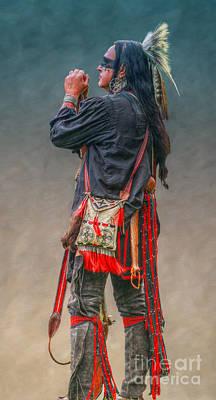 Native American Warrior Portrait  Art Print by Randy Steele