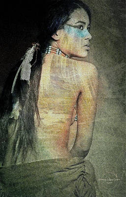 Digital Art - Native American Woman by Absinthe Art By Michelle LeAnn Scott