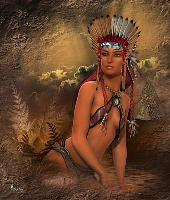 Native American Woman... Abedabun Art Print